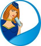 Belle hôtesse avec le billet d'avion. Images libres de droits