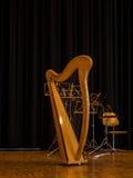 Belle harpe classique avant le concert Image libre de droits