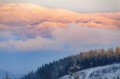 Belle haute rose de coucher du soleil dans les montagnes d'hiver photo libre de droits