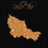 Belle Ile map filled with golden glitter. Royalty Free Stock Image