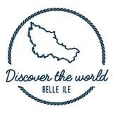 Belle Ile Map Outline Le vintage découvrent le monde Photos libres de droits