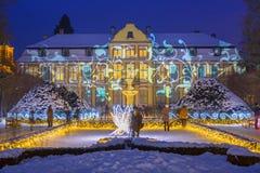 Belle illumination d'hiver au parc Oliwski à Danzig, Pologne Images libres de droits