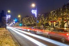 Belle illumination d'hiver sur la rue neigeuse de Danzig Photos libres de droits