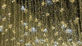 Belle illumination de rue La ville est décorée pour les vacances Déplacez l'appareil-photo de haut en bas banque de vidéos