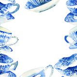 Belle illustration bleu-clair merveilleuse tendre mignonne graphique de main d'aquarelle de cadre de tasses de thé de porcelaine  Images libres de droits