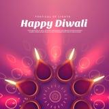 Belle illustration de diwali avec la lampe brûlante de diya Photo stock