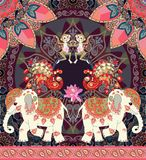 Belle illustration de vecteur pour l'enfant avec le singe gai, les éléphants mignons de bande dessinée, les paons féeriques et la illustration stock