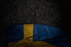 Belle illustration du drapeau 3d de Jour de la D?claration d'Ind?pendance - illustration fonc?e de drapeau de la Su?de avec de gr illustration stock