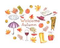 Belle illustration tirée par la main d'automne d'aquarelle avec le lettrage illustration de vecteur