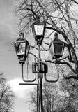 Belle iluminazioni pubbliche sui precedenti del cielo Fotografia Stock