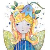 Belle jacinthe des bois féerique avec des fleurs et de longs cheveux illustration de vecteur