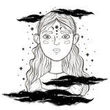Belle jeune adolescente, premier plan de visage Style de croquis de vintage du dessin Croquis pour le tatouage, copie d'isolement illustration de vecteur