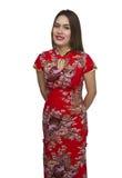 Belle jeune femme asiatique avec le geste de la félicitation, happ Images stock