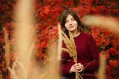 Belle jeune femme Autumn Portrait Photo stock