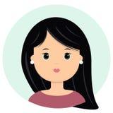 Belle jeune femme avec de longs cheveux noirs Portrait de mode moderne, salon de coiffure, icône de vecteur, d'isolement sur le b illustration de vecteur