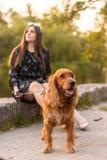 Belle jeune femme avec l'extérieur drôle de chien au parc Été et coucher du soleil images libres de droits
