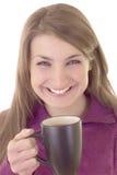 Belle jeune femme avec la cuvette de café Image libre de droits