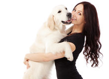 Belle jeune femme avec un chien Photo stock