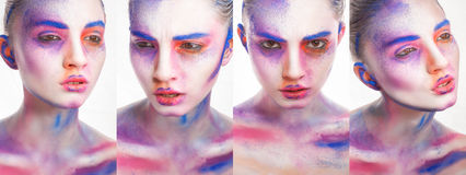 Belle jeune femme avec le maquillage créatif, Photographie stock