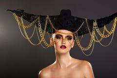 Belle jeune femme avec le maquillage créatif Image libre de droits