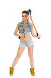 Belle jeune femme avec un coupeur de boulon Image libre de droits