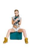 Belle jeune femme avec un tournevis électrique Image libre de droits