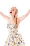Belle jeune femme célébrant le succès Photographie stock libre de droits