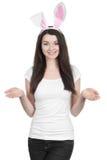 Belle jeune femme comme lapin de Pâques Photos stock