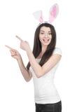Belle jeune femme comme lapin de Pâques Image libre de droits