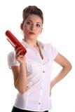 Belle jeune femme d'asain avec le sac d'embrayage Photographie stock