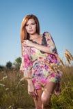 Belle jeune femme dans le domaine de fleurs sauvages sur le fond de ciel bleu Portrait de fille rouge attirante de cheveux avec l Images stock