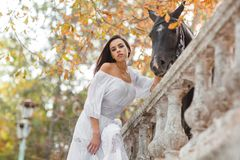 Belle jeune femme dans une longue robe blanche avec le cheval brun extérieur Images stock