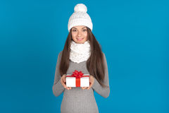 Belle jeune femme de brune comme fille de Santa Photo stock