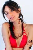 Belle jeune femme de brune, grands yeux swimsuit images stock