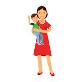 Belle jeune femme de brune tenant le fils dans ses bras, soin et éducation de l'illustration d'enfant Images libres de droits
