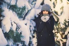 Belle jeune femme en parc le jour de chute de neige d'hiver Photo stock