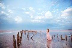 Belle jeune femme enceinte appr?ciant le soleil sur le lac rose image stock