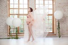 Belle jeune femme enceinte gaie sensuelle dans le vol rose de robe sur le vent se tenant près de la grande fenêtre sur la pointe  images libres de droits