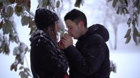Belle jeune femme et homme regardant dans les yeux de chacun en parc d'hiver sous la neige en baisse L'homme chauffe des mains de clips vidéos