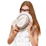 Belle jeune femme heureuse étonnée dans l'excitation Façonnez la fille avec le chapeau, d'isolement sur le fond blanc photographie stock libre de droits