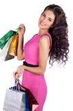 Belle jeune femme heureuse avec des sacs à provisions image libre de droits