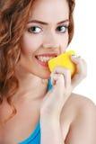 Belle jeune femme heureuse Style de vie sain Consommation saine Images stock
