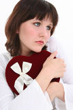 Belle jeune femme pensant à son Valentine Photo libre de droits