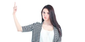 Belle jeune femme se tenant sur le fond blanc Photographie stock