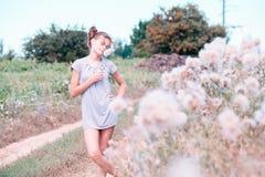 Belle jeune femme se trouvant sur le champ en herbe verte et pissenlit de soufflement outdoors Appréciez la nature Fille de souri photographie stock