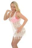 Belle jeune femme sexy portant Lacy See Through Mini Dress Photos stock