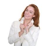 Belle jeune femme souriant avec la veste d'hiver Image stock