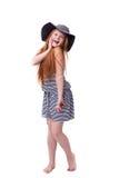 Belle jeune fille élémentaire d'école d'âge au-dessus de blanc avec longtemps Images stock