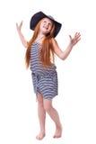 Belle jeune fille élémentaire d'école d'âge au-dessus de blanc avec longtemps Photographie stock libre de droits