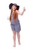 Belle jeune fille élémentaire d'école d'âge au-dessus de blanc avec longtemps Photos libres de droits